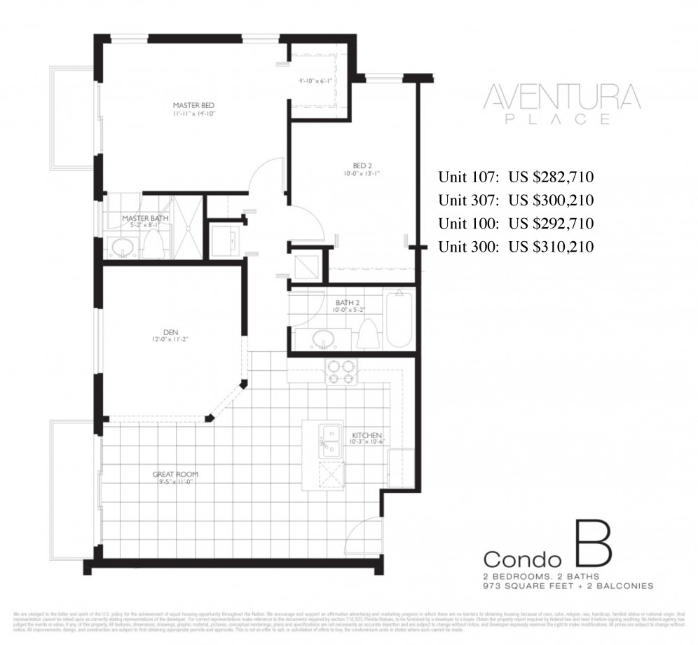 Floor plan model b lineb ataventura place aventura for 15 dunham place floor plans