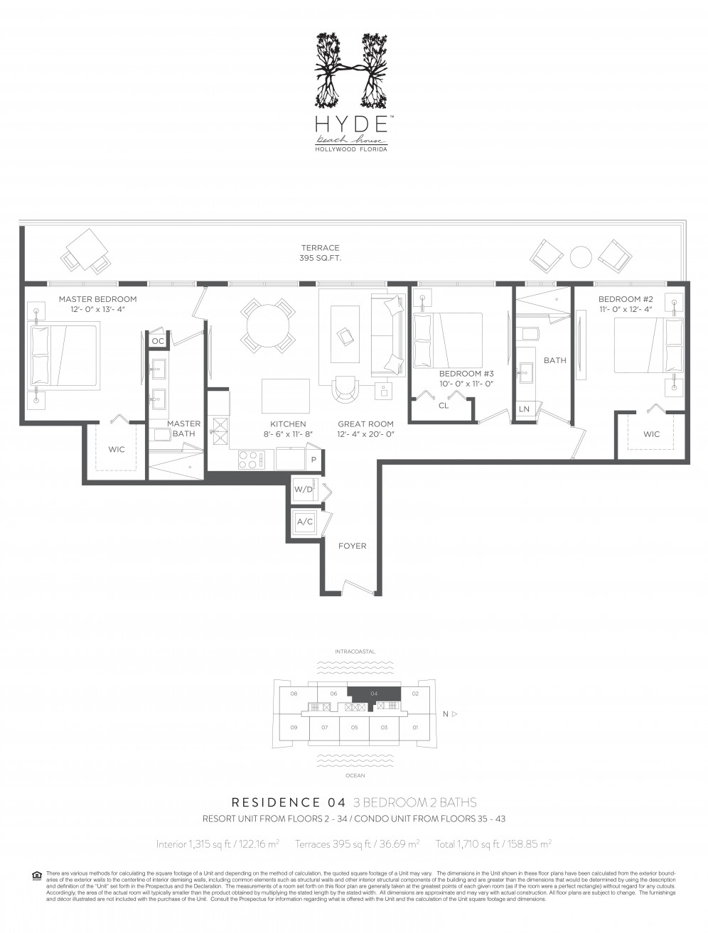 Floor plan model 04ch line04 athyde beach house hollywood for Hyde homes floor plans