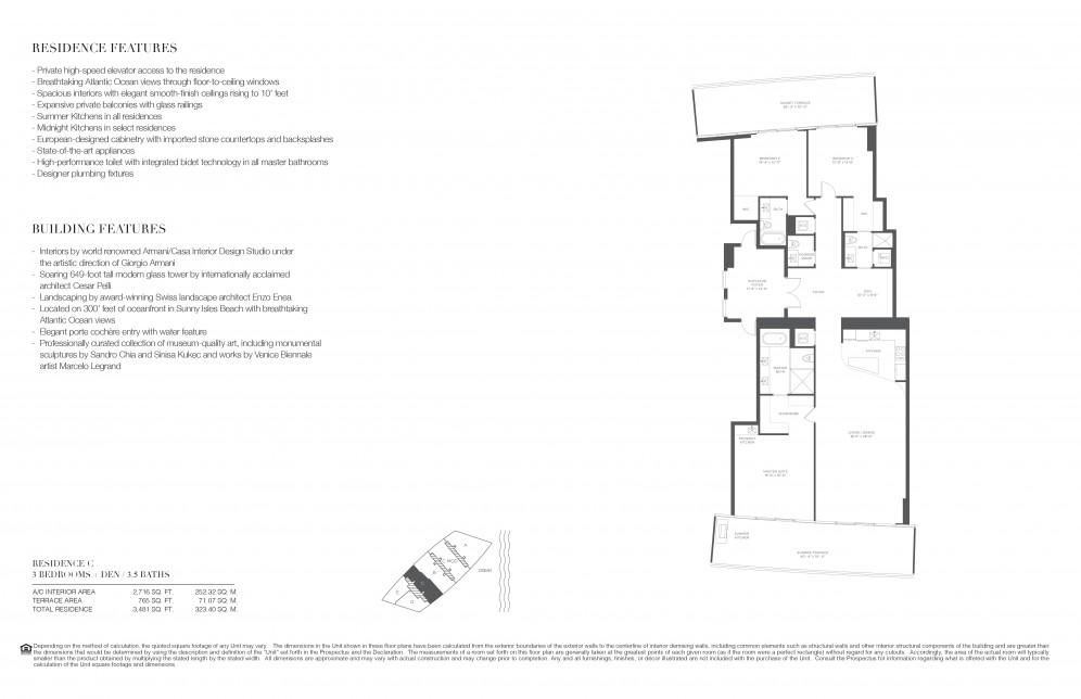 Floor Plan Model C Line03 Atresidences By Armani Casa Sunny Isles Beach
