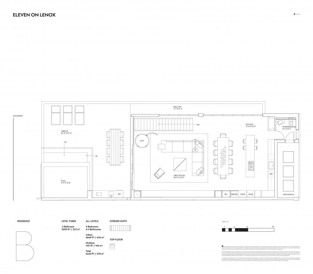 Floor plan model b lineb ateleven on lenox miami beach for The lenox floor plan