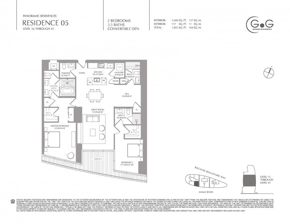 Floor Plan Model Pan05 Line05 Ataston Martin Residences Miami
