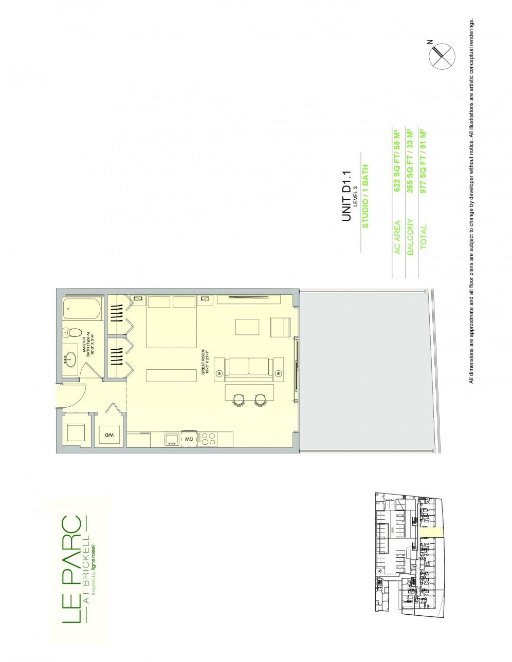 Floor Plan Model D1 1, Line11 atLe Parc at Brickell, Miami
